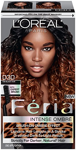 L'Oreal Paris Feria Brush-On Intense Ombre Effect Hair Color, 030 for Black Hair