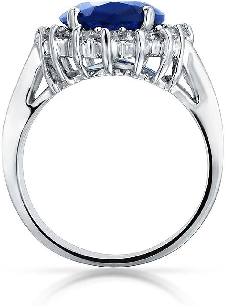 Bling Jewelry 5CT Royal Blu OVA Cubic Zirconia Zaffiro Simulato CZ Crown Halo Impegno per Donne Banda in Ottone Placcato in Argento