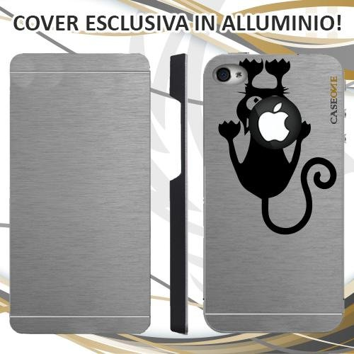 CUSTODIA COVER CASE CAT GATTO IN BILICO PER IPHONE 4S ALLUMINIO TRASPARENTE