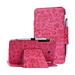 At&t Asus Memo Pad 7 Lte Case, I-unik Case For At&t Asus Memo Pad 7 Lte Gophone Prepaid Wal-mart (6725ame375cl) Tablet Pc Support Auto Sleep Awake Function [Bonus Stylus] (Cute Pink)