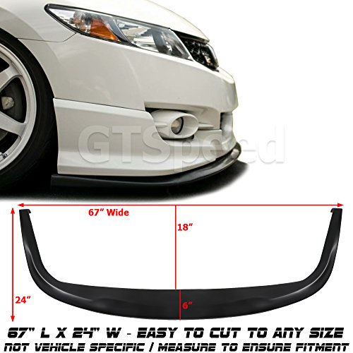 GT-Speed Universal Fit CS Style PU Front Bumper Add on Lip Flat Splitter Plate Under ()