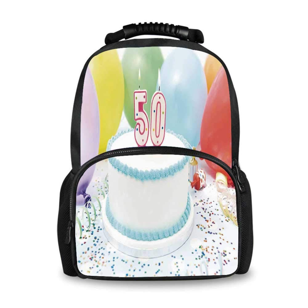 50th Birthday Decorations Adorable School Bag,White Sweet Cake on Table with Colorful Balloons Confetti Party for Boys,12''L x 7''W x 17''H