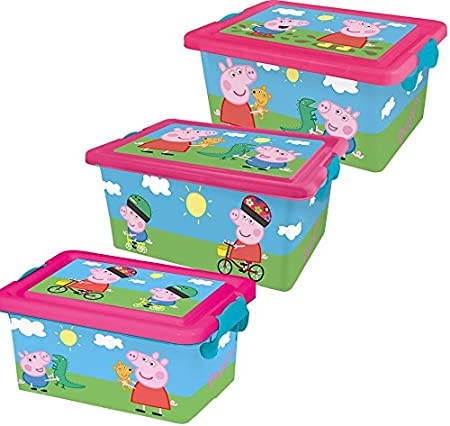 Peppa Pig Set Ordenación de 3 contenedores, Rosa, 38x27x18,5 cm, 3 ...