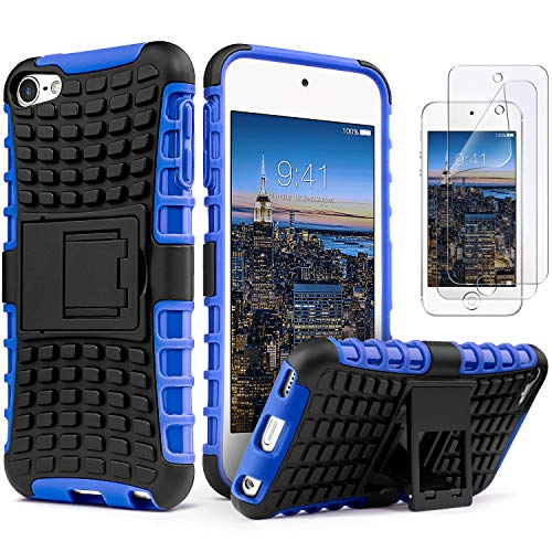 IDweel iPod Touch 7 Case with 2 Screen Protectors,iPod 6 Case,iPod 5 Case, Heavy Duty Dual Layer Shockproof Hybrid Rugged Armor Case with Built-in Kickstand for Apple iPod Touch 5/6/7th Gen, Blue (32g Apple Ipod Touch)