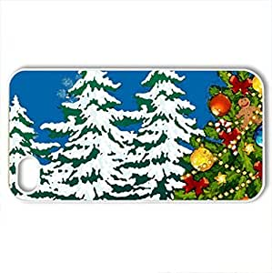 Amazement of Christmas - Case Cover for iPhone 4 and 4s (Winter Series, Watercolor style, White)