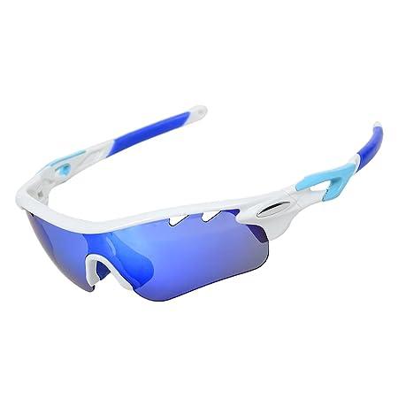 Valorcielo polarisées UV 400protection Lunettes de sport avec 5objectifs interchangeables pour homme femme, Safety Eyewear Lunettes de sport pour cyclisme, camping, conduite, pêche, course à pied, G