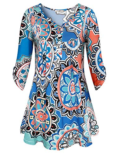 Viracy Work Blouses for Women Office, Youth Print Tunics Soft Surroundings Peplum Tops Half Cuff Sleeve Fashionable Hipster Textured Floral Pattern Henleys Loose Mini Dress Blue XL