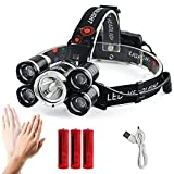 Motion Sensor Headlamp, Loyalfire 5 Headlamp 10000 Lumens Bright Light Headlight Flashlight 4 Modes XML-T6 LED with Induction 18650 Rechargeable and Waterproof Switch, for Camping/Travel / Running