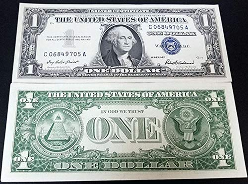 (1957 CRISP NEARLY UNCIRCULATED BLUE SEAL 1957 SILVER DOLLAR! LAST U.S. SILVER $1!! $1 CRISP ABOUT UNCIRCULATED)