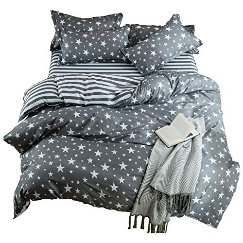 (Kids Cotton Blend Star Twin Size Bedding Sheets Set Bed Pillowcase Bedding Duvet Cover Set, Without Comforter. )