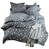 Kids Cotton Blend Star Twin Size Bedding Sheets Set Bed Pillowcase Bedding Duvet Cover Set (1 Quilt Cover+1 flat sheet + 1 Pillowcase)