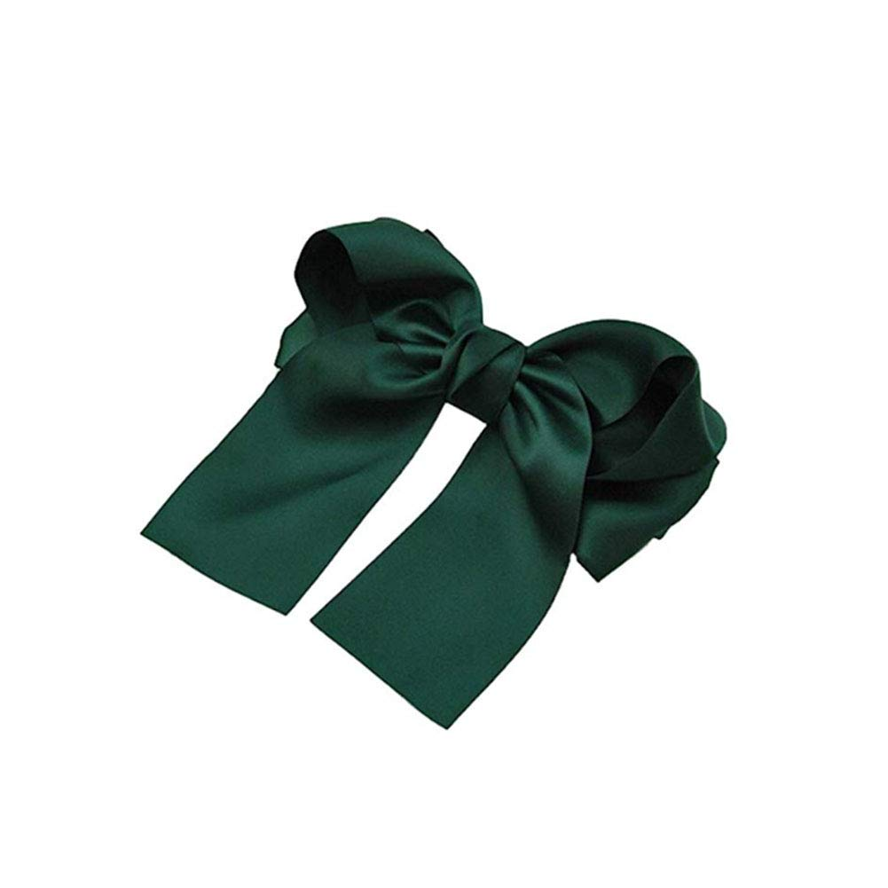 YaptheS Women's Bow Hair Clips Barrette Ponytail Holder Girl Bow Knot Spring Hair Pins Dark Green Beauty Tools