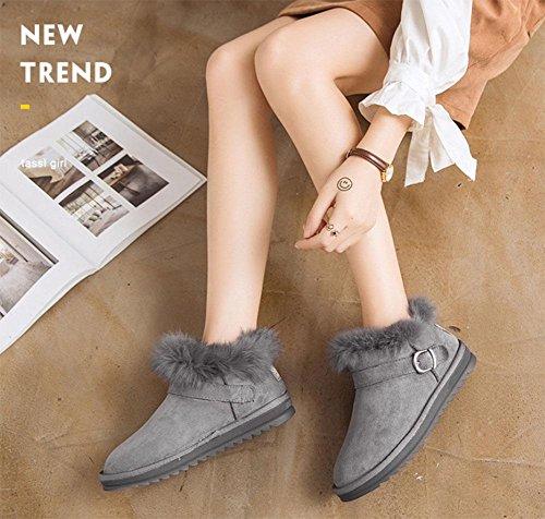 bottes de bottes épais sport neige de suède KUKI chaussures femmes tube pour croûte bottes de bottes mode bottes femmes chaud court fourrure coton Chaussures gray 322 zzEZ6
