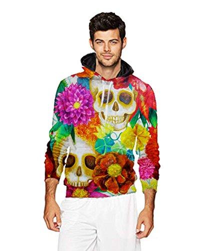 Men's 2018 Fashion Athletic Sweatshirts Colorful Sugar Skull