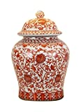 Beautiful Oriental Orange and White Porcelain Temple Jar Twisted Lotus Design 13''