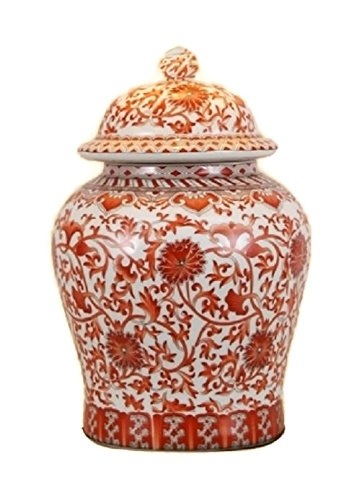 Beautiful Oriental Orange and White Porcelain Temple Jar Twisted Lotus Design 13'' by East Enterprises