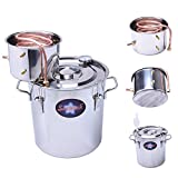 Seeutek 5 Gal 18 Litres Home Alcohol Water Distiller Copper Moonshine Still Kit Stainless Steel Spirits Boiler
