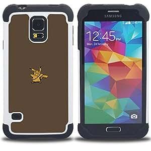 """SAMSUNG Galaxy S5 V / i9600 / SM-G900 - 3 en 1 impreso colorido de Altas Prestaciones PC Funda chaqueta Negro cubierta gel silicona suave (Pikach Wookie"""")"""