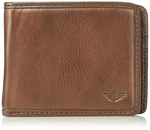 Dockers Men's Leather Bifold Wallet – RFID Blocking Classic Single Fold with Extra Card Slots and ID Window