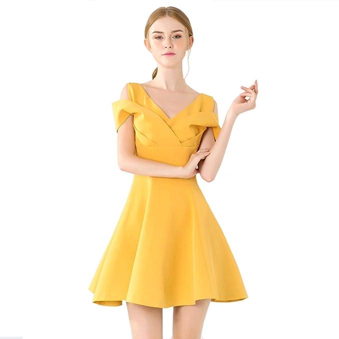 8fe5746db Vestido para mujer Chicas Mangas cortas Cuello en V Agraciado Cintura alta  Falda de una línea