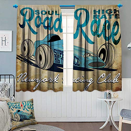 Chaneyhouse Cars Patterned Drape for Glass Door New York Racing Club Race Car from Twenties Road Race Team Old School Cool Design Waterproof Window Curtain 63
