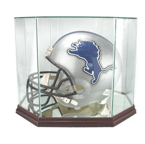 Perfect Cases Glass Football Helmet Octagon Display Case with Mirror