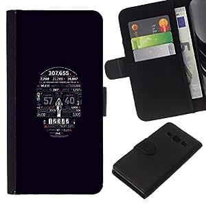 // PHONE CASE GIFT // Moda Estuche Funda de Cuero Billetera Tarjeta de crédito dinero bolsa Cubierta de proteccion Caso Samsung Galaxy A3 / Typography Skull /