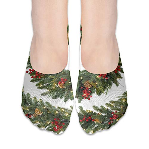 (No Show Socks Christmas Wreath Personalized Womens Low Cut Sock Boat Invisible Socks for Girl)