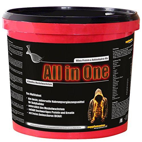 Das neue ALL in ONE! 2,6kg Whey-Protein Kohlenhydrat-Mix Multitalent Muskelwachstum Anabolika hochwertiges Kreatin BCAAs Shake Himbeergeschmack