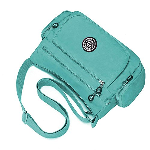 Nylon Waterproof Leegoal Bag Messenger Jade Burgundy Women Green TM pocket Multi g15Bw
