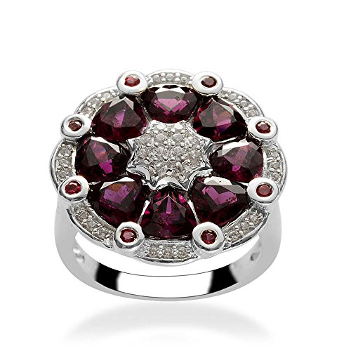 Rhodolite, Multi Gemstone Rhodium Plated Silver Cluster Ring 5.2 cttw Size 7 (Gemstone Cluster Multi Ring)
