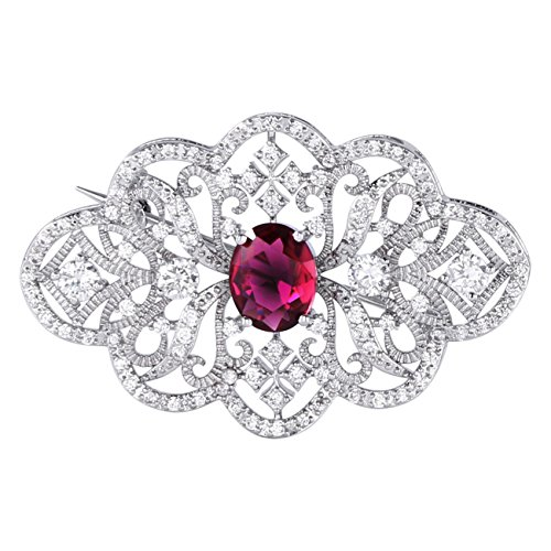 Ruby Silver Brooch (GULICX Red Cubic Zirconia Brooch Art Deco Silver Plated Base Art Deco Ruby Color Pin for Women)