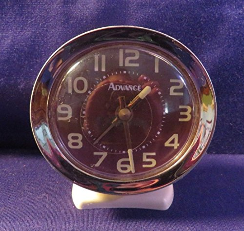 "Vintage ADVANCE Key Wound Auto Alarm Clock 4"" Tall 3.5"" Wide AWESOMELY RETRO!"