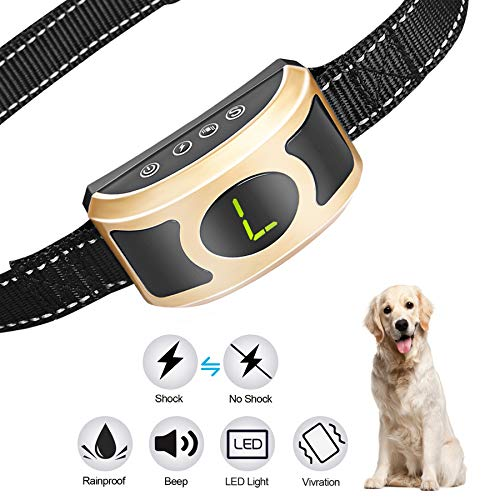 MIGOHI Bark Collar, Rechargeable Humane Anti Bark Shock Collar Waterproof Dog Training Collars with Harmless Shock, Beep, Vibration and LED Light for Small Medium Large Dogs by MIGOHI