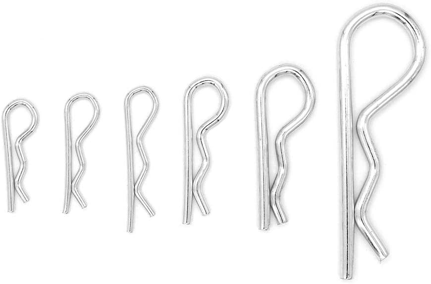 150 Pcs 6 Misure R Cotter Pin Coppiglie Spaccate a R Hitch Pin Assortimento kit Yuhtech Copiglie