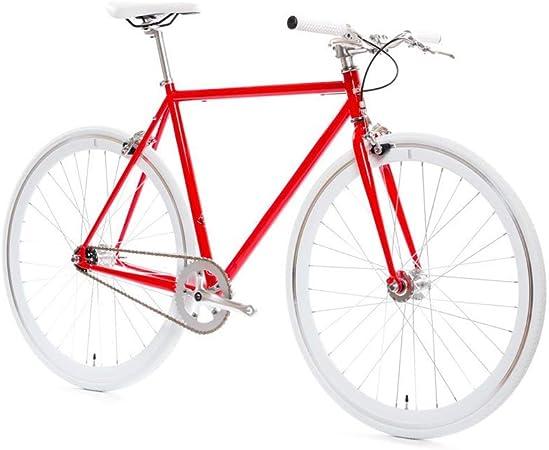 Syxfckc Bastidor de la Bicicleta Fija de Estilo Antiguo Marcha de Bicicleta 700C Sola Velocidad del Carril de Bicicleta Bicicleta roja 52cm, Cuello de Cisne de la Palanca del Manillar: Amazon.es: Hogar