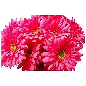 Silk Flower Arrangements CraftMore 14 Inch Pink Gerbera Daisy Stems Set of 12