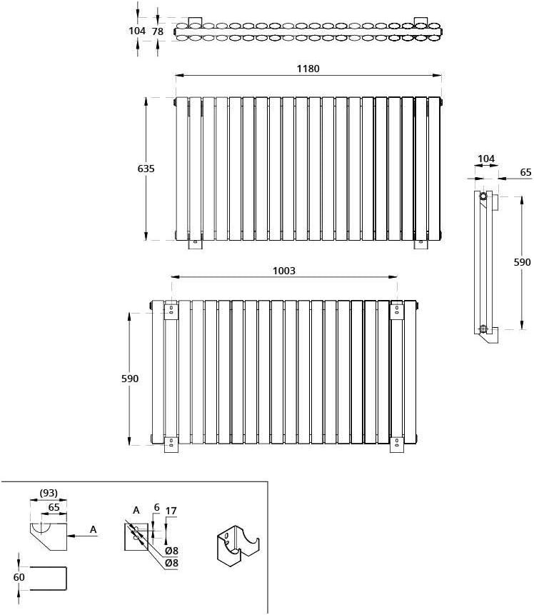 Radiateur Design Horizontal Hudson Reed Vitality 63,5 x 83,4cm Double Rang Blanc