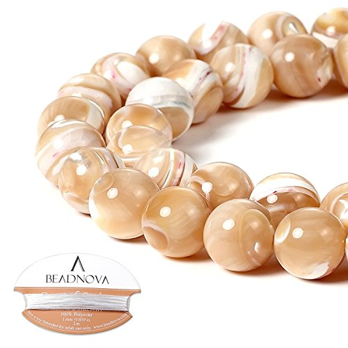 BEADNOVA Natural Mother of Pearl Nacre Conch Shell Beads Natural Crystal Beads Stone Gemstone Round Loose Energy Healing Beads with Free Crystal Stretch Cord for Jewelry Making (10mm, 38-40pcs)