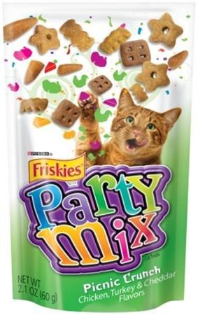 (Friskies Party Mix Chicken, Turkey & Cheddar Cheese Flavor Picnic Crunch Cat Treats 10 - 2.1oz Packs)