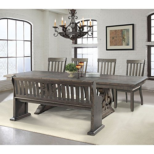 Stanford Dining Table, 4 Side Chairs, Pew Bench