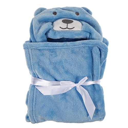 Chinatera Hood Bath Wrap Cute Animal Bath Towel for Kids Toddlers Baby Infant (Blue Bear)