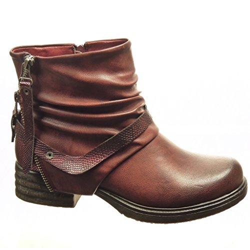 Angkorly - damen Schuhe Stiefeletten - Biker - Reitstiefel - Kavalier - Schleife - Schlangenhaut - Reißverschluss Blockabsatz 4 CM - Burgunderrot
