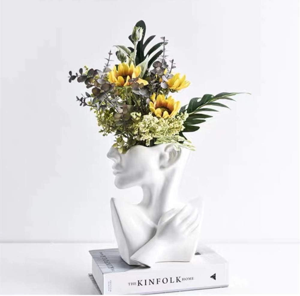 Face Vase, Head Vase and Body Vase Modern Minimalism Nordic Style Ceramic Sculpture Flower Plant Holder Home Decoration Table Center Piece (Vase)