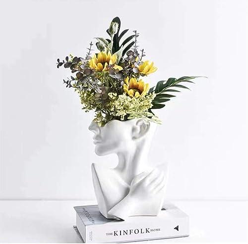 Face Vase, Head Vase and Body Vase Modern Minimalism Nordic Style Ceramic Sculpture Flower Plant Holder Home Decoration Table Center Piece Vase