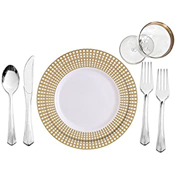 party bargains 240 piece signature collection gold plastic china like plates silverware combo for 40 people