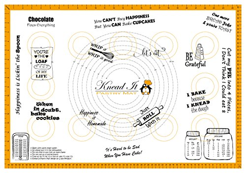 """Knead It Silicone Pastry Baking Mat Extra Large 18""""x26"""" with Measurements for Rolling Dough, Fondant, Sheet Board Cloth, Non-Slip Backing Sticks to Countertop with Conversion Charts (Orange) (18x26)"""