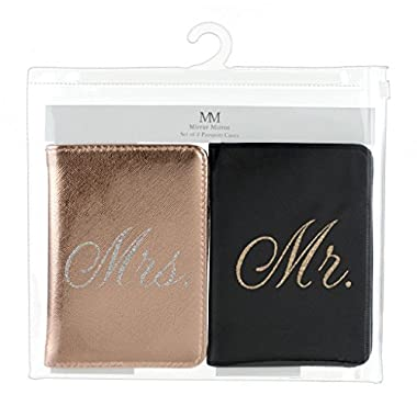 Passport Wallets Travel Holder Set: Mr. & Mrs. Slim Waterproof Passport Case Covers & Organizer Slots for ID, Money & Credit Card - Black & Rose Gold