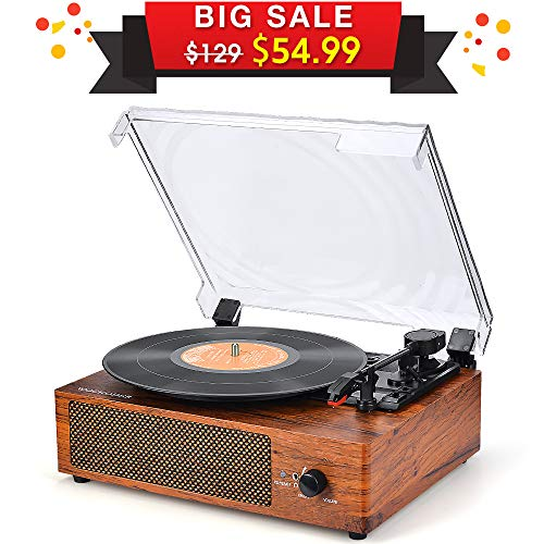Record Player Vintage Turntable 3 Speed Belt Drive Vinyl Player LP Record Player with Built-in Stereo Speaker Aux-in and RCA Output Natural Wood