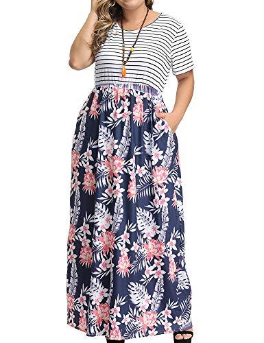 Allegrace Women's Plus Size Floral Print Striped Patchwork Maxi Dress Short Sleeve Long Dresses P53 White-Leaf Flower Dark Blue ()